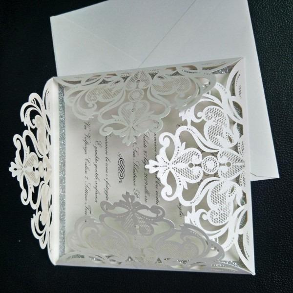 Silver Glitter Laser Cut Wedding Invitations Ivory Lace Evening