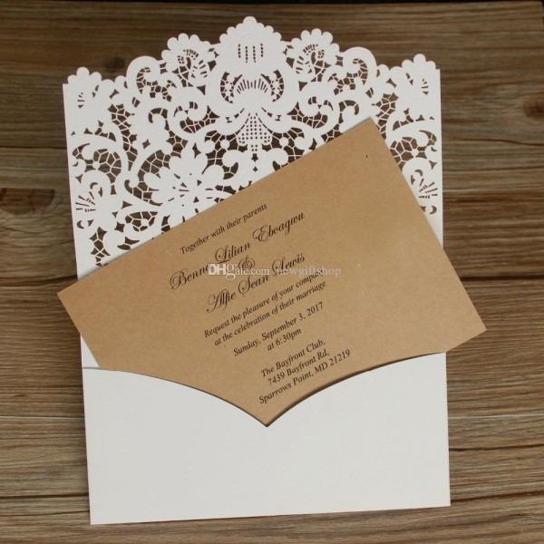 3d Embossed Flower Shimmy Laser Cut Wedding Invitations Set Rustic