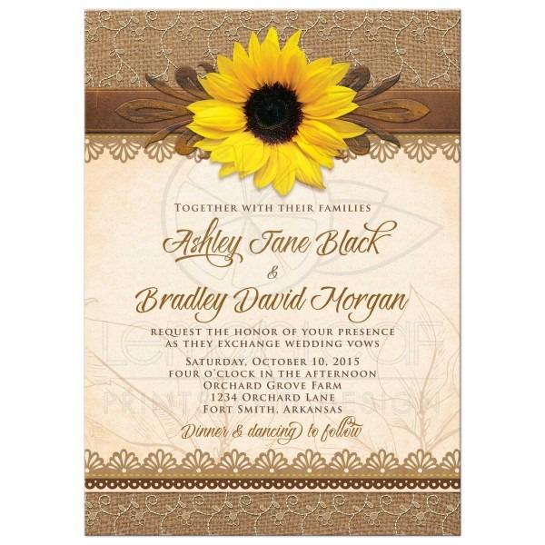 Rectangle Rustic Burlap Lace And Wood Sunflower Wedding Invitation