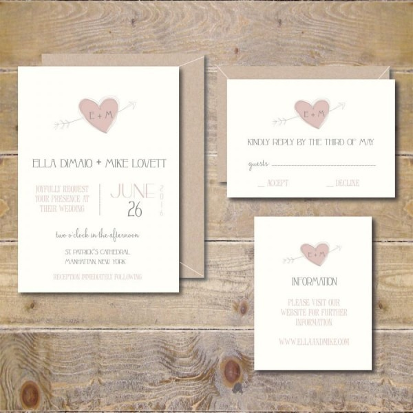Recycled Wedding Invitations, Rustic Wedding, Heart And Arrow