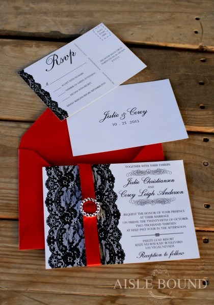 Fresh Red Black And White Wedding Invitations