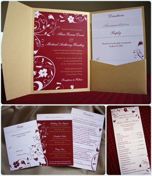 Red And Gold Tropical Flower Pocketfold Invitations And Programs
