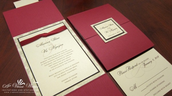 Professional Red And Gold Wedding Invitations