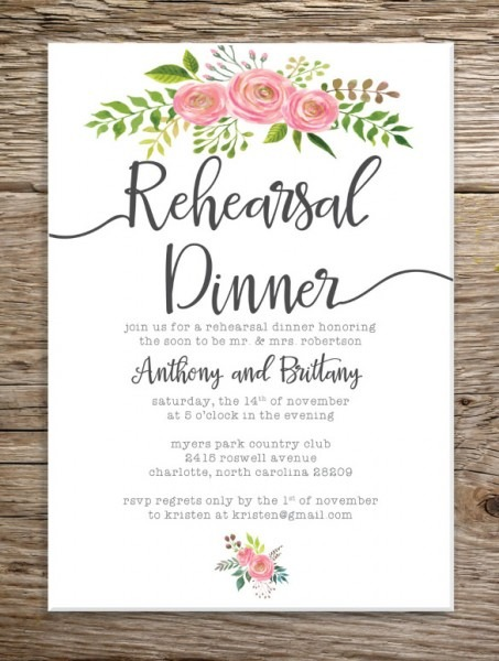 Rehearsal Dinner Invitation Templates With The Card Erstaunlich