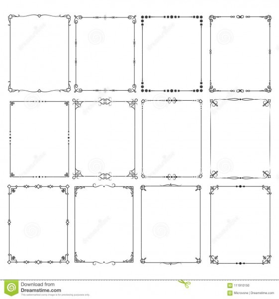 Retro Classic Elegant Frame Borders Vector Set For Certificate And