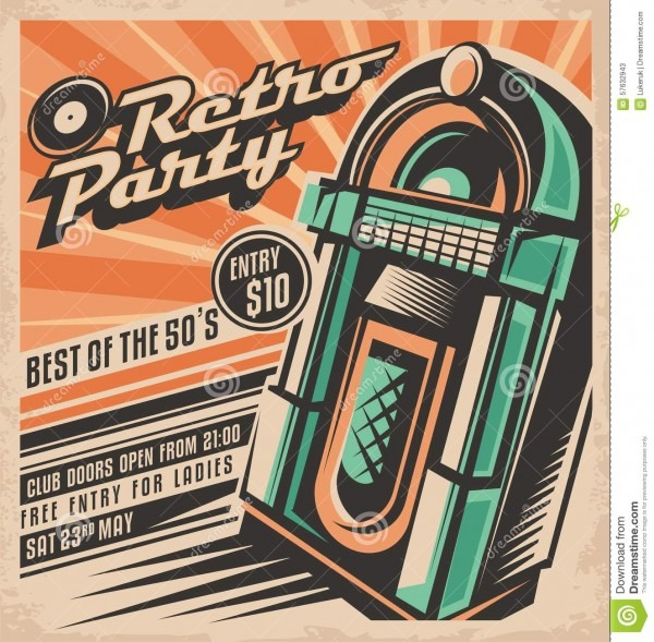 Retro Party Invitation Design Stock Vector