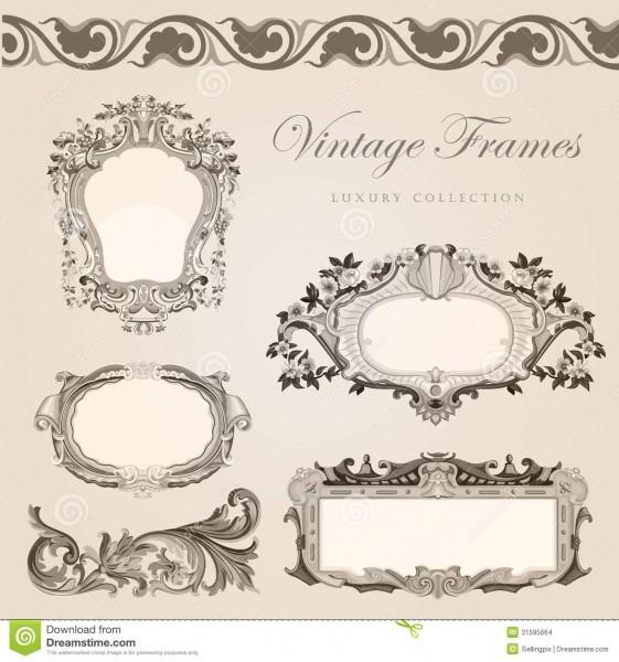 Retro Wedding Invitation Template  Vintage Frames Stock Vector