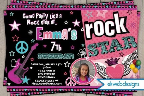 Rockstar Birthday Invitati Elegant Rock Star Birthday Invitation