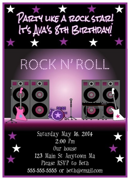Rockstar Birthday Invitati Elegant Rock Star Birthday Invitation