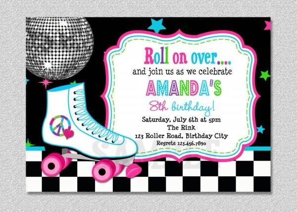Party Invitation Template Roller Skating Birthday Party