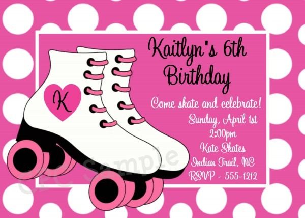Roller Skating Birthday Party Invitations Roller Skating Birthday