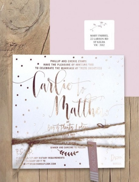 Rose Gold Foil Wedding Invitations Dream Dust Invitation Online