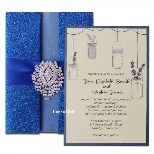 Royal Blue Wedding Invitation, Shimmer Invitation Card, Blue