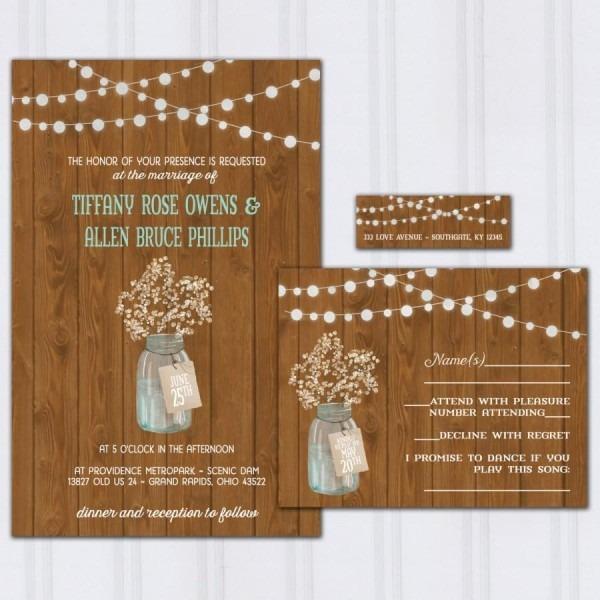 Rustic Barn Wood Wedding Invitations, Babys Breath Invite Set