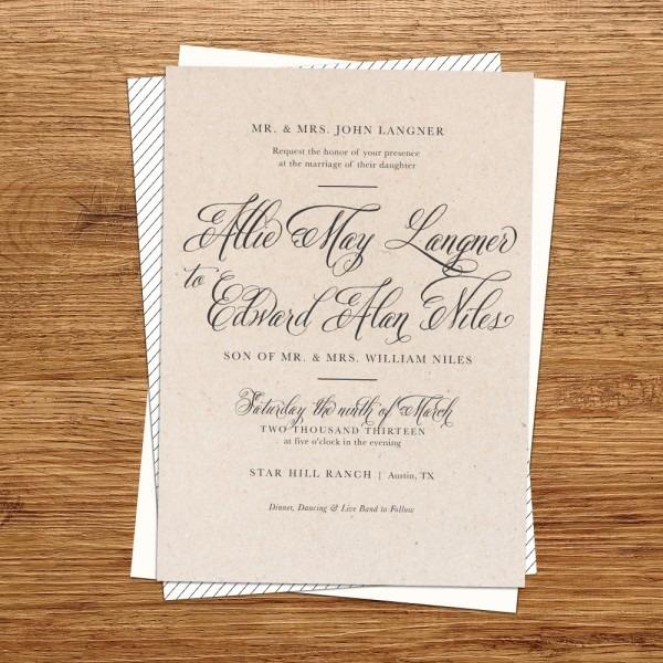 Rustic Kraft Paper Wedding Invitations – Ipunya