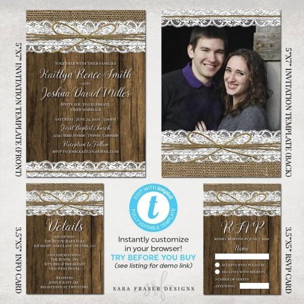 Rustic Wedding Invitation Suite Set