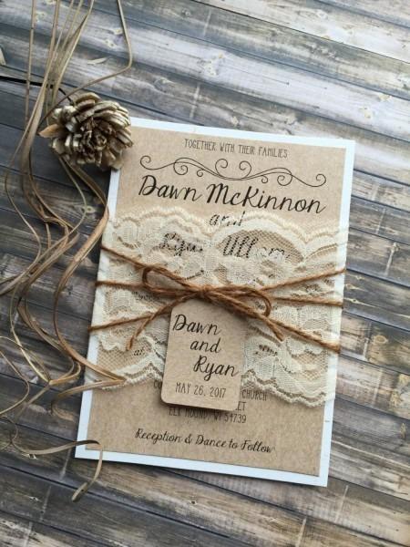 Rustic Wedding Invitation, Vintage Wedding Invitation, Elegant