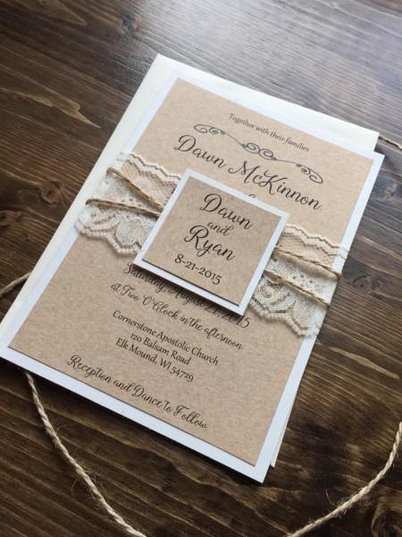 Rustic Wedding Invitation, Vintage Wedding Invitation, Lace
