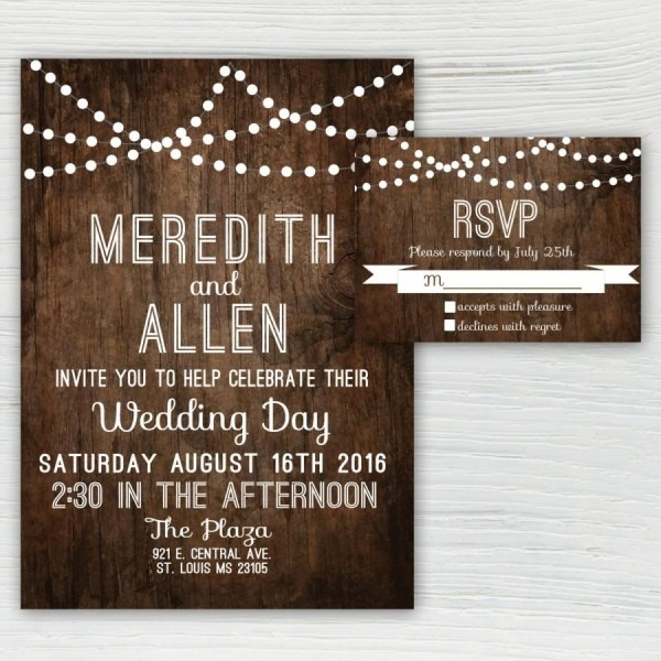 Rustic Wood Wedding Invitation, Country Wedding Invitation, String