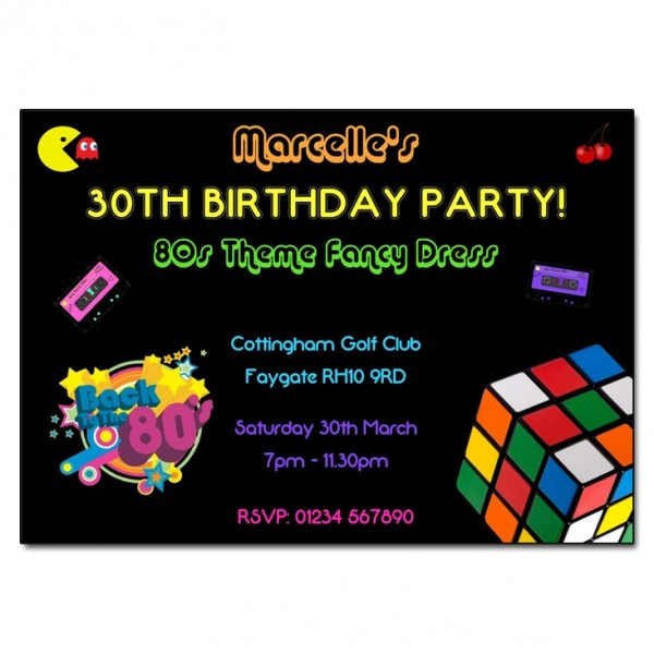Invitation Template  80s Birthday Party Invitation