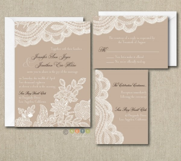 100 Personalized Custom Rustic Vintage Lace Wedding Invitations