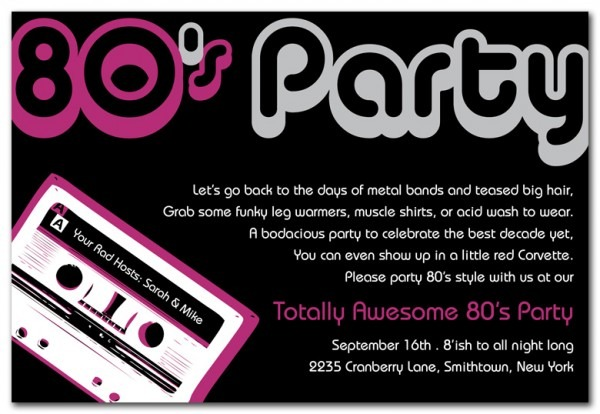 S Par Ideal 80's Theme Party Invitation Templates Free