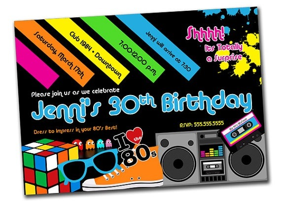 Unique 80s Birthday Party Invitation