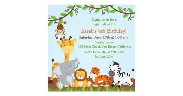 Invitation Template  Safari Themed Invitation Template