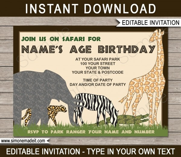 Jungle Themed 1st Birthday Party Invitations Sample Of Zoo