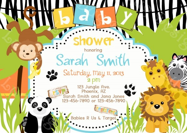 Safari Theme Baby Shower Invitations