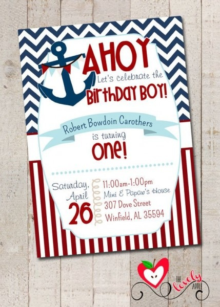 Stunning Nautical 1st Birthday Invitations