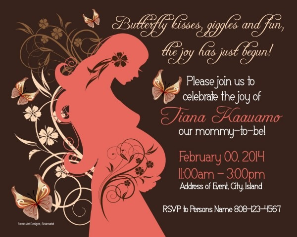 Baby Shower Invitation – Floral & Butterflies (coral, Brown And