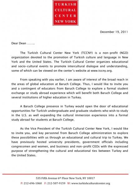 Sample Baruch College Trip Invitation Letter