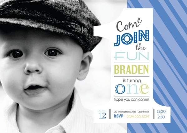 Sample Birthday Invitation Cards Year Old Card For Baby Boy Design