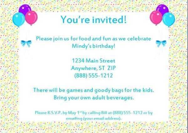 Sample Invitation Message Birthday Refrence Birthday Party