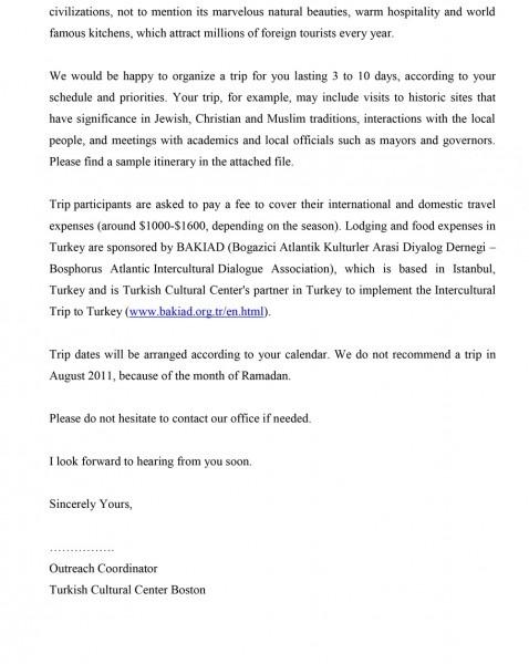 Sample Invitation Letter To Turkey Trip