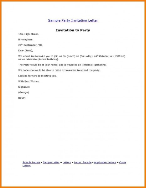 Sample Invitation Party Letter New Party Invitation Letter Sample