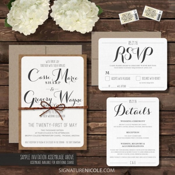 Sample Rustic Wedding Invitation With Rsvp And Detail Cards