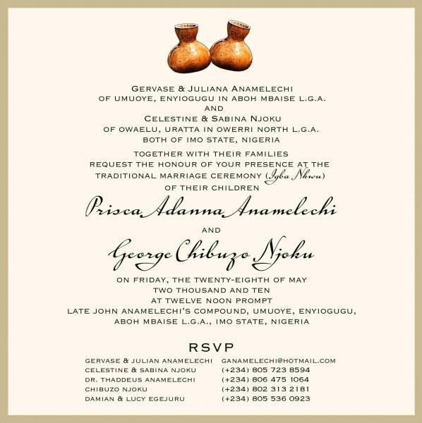 Sample Of Wedding Invitation In Nigeria