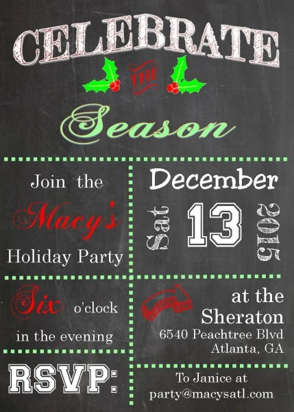Holiday Christmas Open House Party Invitations 2018