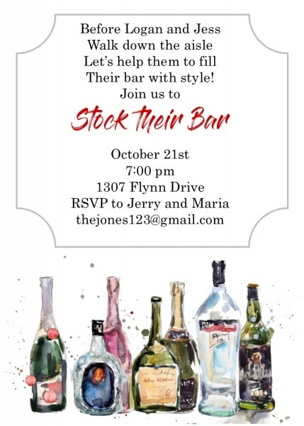 Stock The Bar Shower Party Invitations New Selections Winter 2018