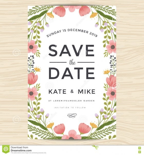 Save The Date, Wedding Invitation Card Template With Hand Drawn