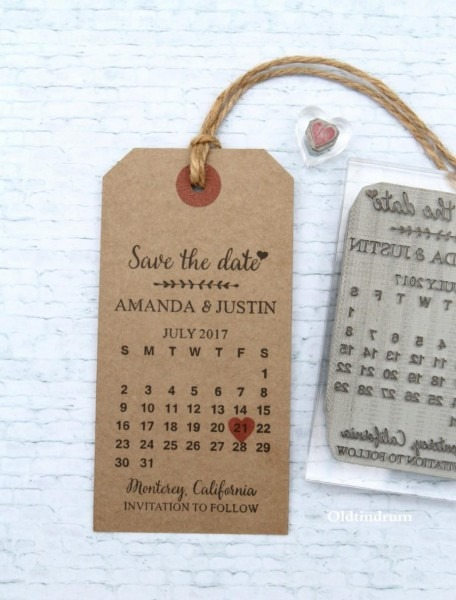Save The Date Calendar  Uk Rubber Stamp  Wedding Invitation