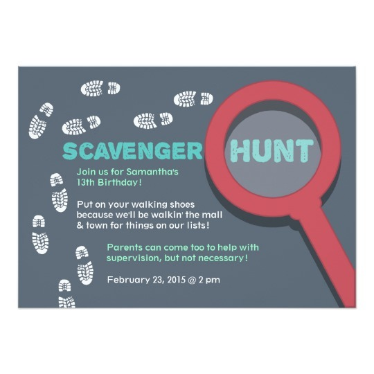 Scavenger Hunt Invitations Cool Scavenger Hunt Invitation