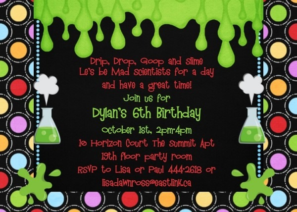 Free Science Birthday Party Invitation Templates Mad Science