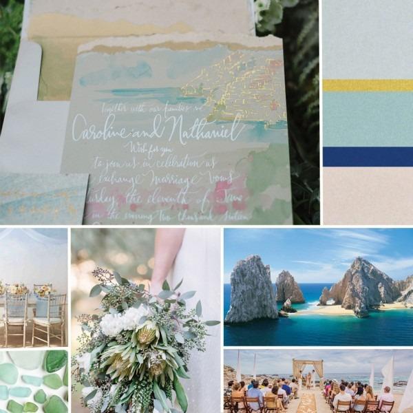 Cabo San Lucas Watercolor Wedding Invitations