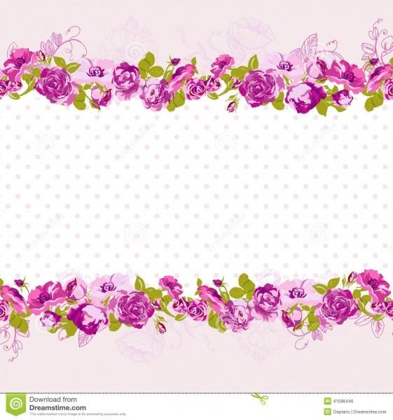 Seamless Border Of Blossom Roses  Stock Vector
