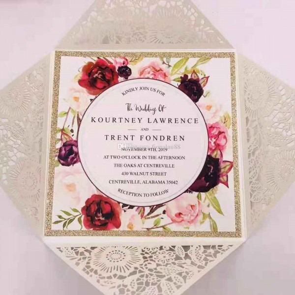 Selina Rose Gold Glitter Ivory Laser Cut Wedding Invitation Laser