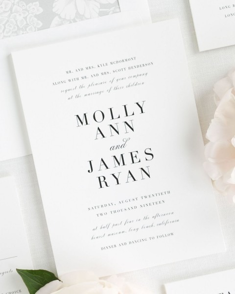 Romantic Wedding Invitations In Silver With A Floral Liner