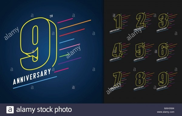 Set Of Anniversary Logotype  Colorful Anniversary Celebration